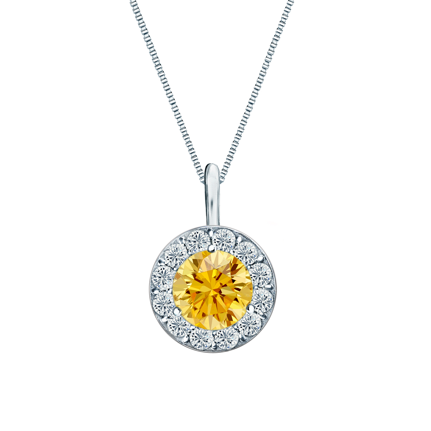 Certified 0.25 ct. tw. Round Yellow Diamond Pendant in 14k White Gold Halo (AAA)