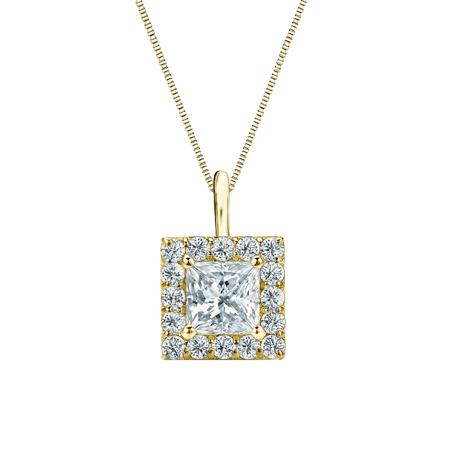 Certified 0.25 ct. tw. Princess Diamond Pendant in 14k Yellow Gold Halo (I-J, I1)