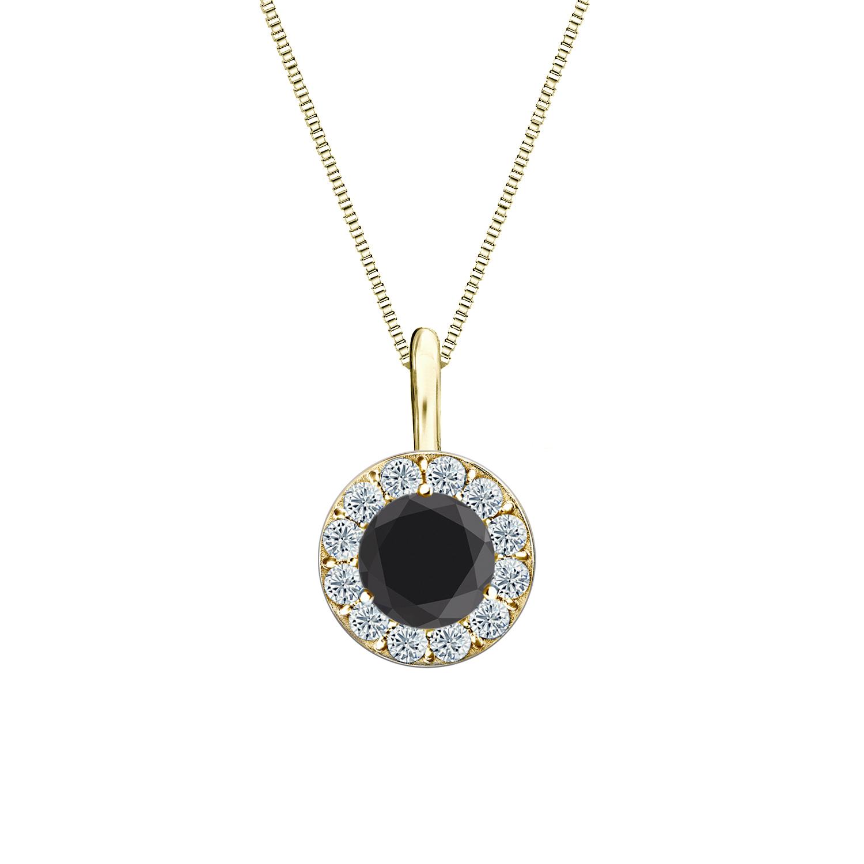 Certified 0.50 ct. tw. Round Black Diamond Pendant in 18k Yellow Gold Halo (AAA)