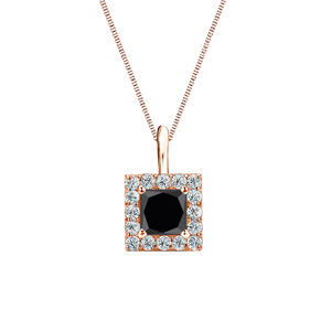 Certified 0.25 ct. tw. Princess-cut Black Diamond Pendant in 14k Rose Gold Halo (AAA)