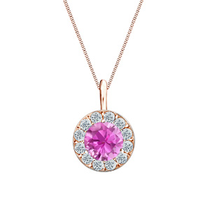 Certified 1.00 ct. tw. Round Pink Sapphire Gemstone Pendant in 14k Rose Gold Halo (AAA)
