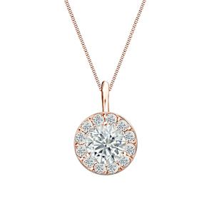 Certified 0.25 ct. tw. Round Diamond Pendant in 14k Rose Gold Halo (I-J, I1)