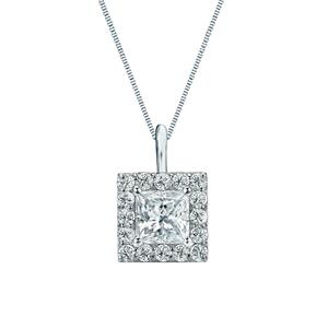 Certified 0.50 ct. tw. Princess Diamond Pendant in 14k White Gold Halo (G-H, SI)