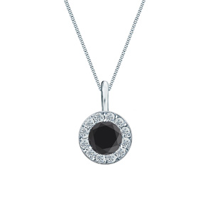 Certified 0.25 ct. tw. Round Black Diamond Pendant in 14k White Gold Halo (AAA)