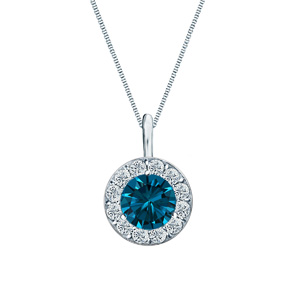 Certified 0.25 ct. tw. Round Blue Diamond Pendant in 14k White Gold Halo (Blue, SI1-SI2)