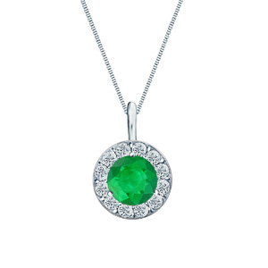 Certified 0.25 ct. tw. Round Green Emerald Gemstone Pendant in 14k White Gold Halo (AAA)