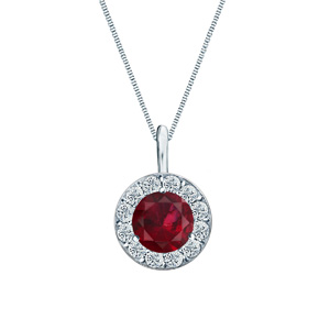 Certified 0.25 ct. tw. Round Ruby Gemstone Pendant in 14k White Gold Halo (AAA)