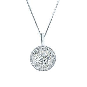 Certified 0.50 ct. tw. Round Diamond Pendant in 14k White Gold Halo (G-H, SI)
