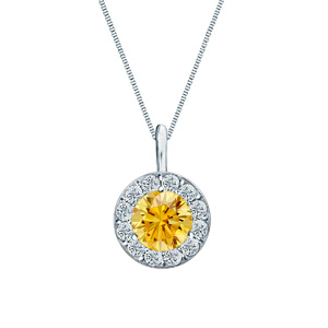 Certified 0.25 ct. tw. Round Yellow Sapphire Gemstone Pendant in 14k White Gold Halo (AAA)