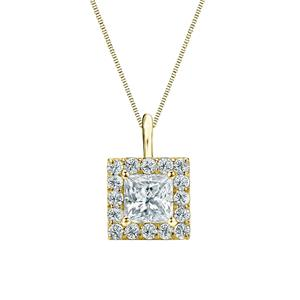 Certified 0.38 ct. tw. Princess Diamond Pendant in 14k Yellow Gold Halo (G-H, SI)