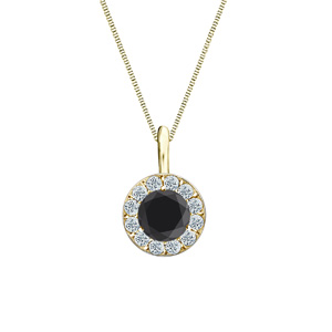 Certified 0.50 ct. tw. Round Black Diamond Pendant in 18k Yellow Gold Halo (AAA)