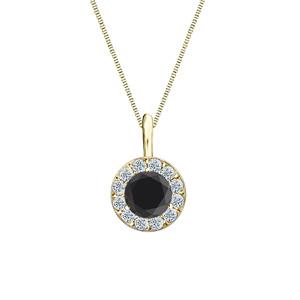 Certified 0.75 ct. tw. Round Black Diamond Pendant in 18k Yellow Gold Halo (AAA)