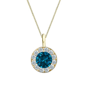 Certified 0.25 ct. tw. Round Blue Diamond Pendant in 18k Yellow Gold Halo (Blue, SI1-SI2)