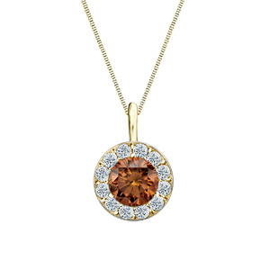 Certified 0.75 ct. tw. Round Brown Diamond Pendant in 14k Yellow Gold Halo (Brown, SI1-SI2)