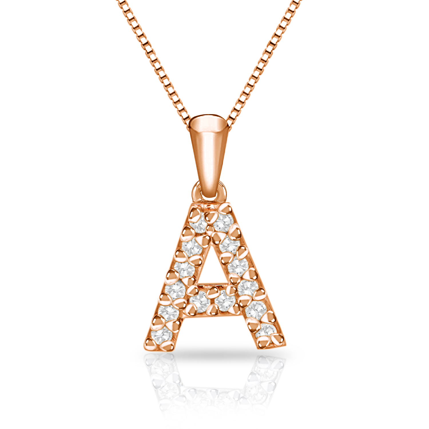 Certified Diamond Letter A Initial Pendant in 14k Rose Gold (1/10 cttw) 18-inch Box Chain