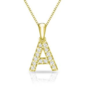 Certified Diamond Letter A Initial Pendant in 14k Yellow Gold (1/10 cttw) 18-inch Box Chain