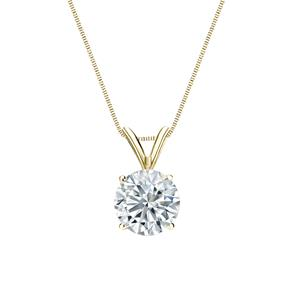 4-Prong Basket Diamond Solitaire Pendant in 14k Yellow Gold