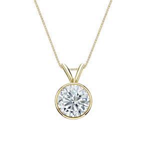 Bezel Diamond Solitaire Pendant in 14k Yellow Gold
