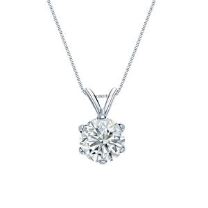 6-Prong Basket Diamond Solitaire Pendant in 14k White Gold