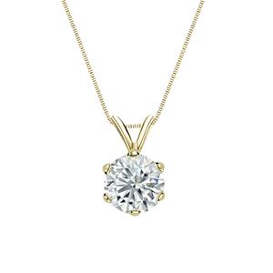 6-Prong Basket Diamond Solitaire Pendant in 14k Yellow Gold