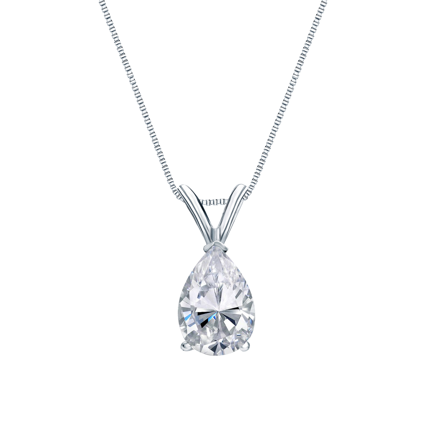 V-End Prong Diamond Solitaire Pendant in 14k White Gold