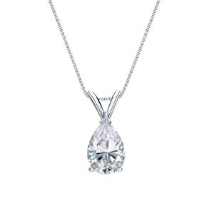 V-End Prong Diamond Solitaire Pendant in 14k White Gold