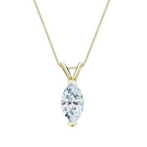 V-End Prong Diamond Solitaire Pendant in 14k Yellow Gold