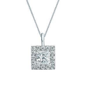 Halo Diamond Pendant in 14k White Gold