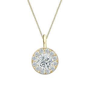 Halo Diamond Pendant in 14k Yellow Gold