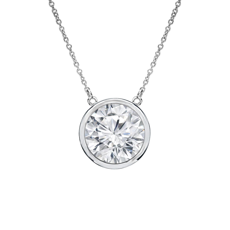 Bezel Diamond Solitaire Pendant in 14k White Gold