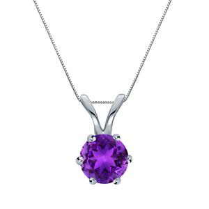 14k White Gold 6-Prong Round Amethyst Solitaire Pendant 0.50 ct. tw. (Purple, AAA)