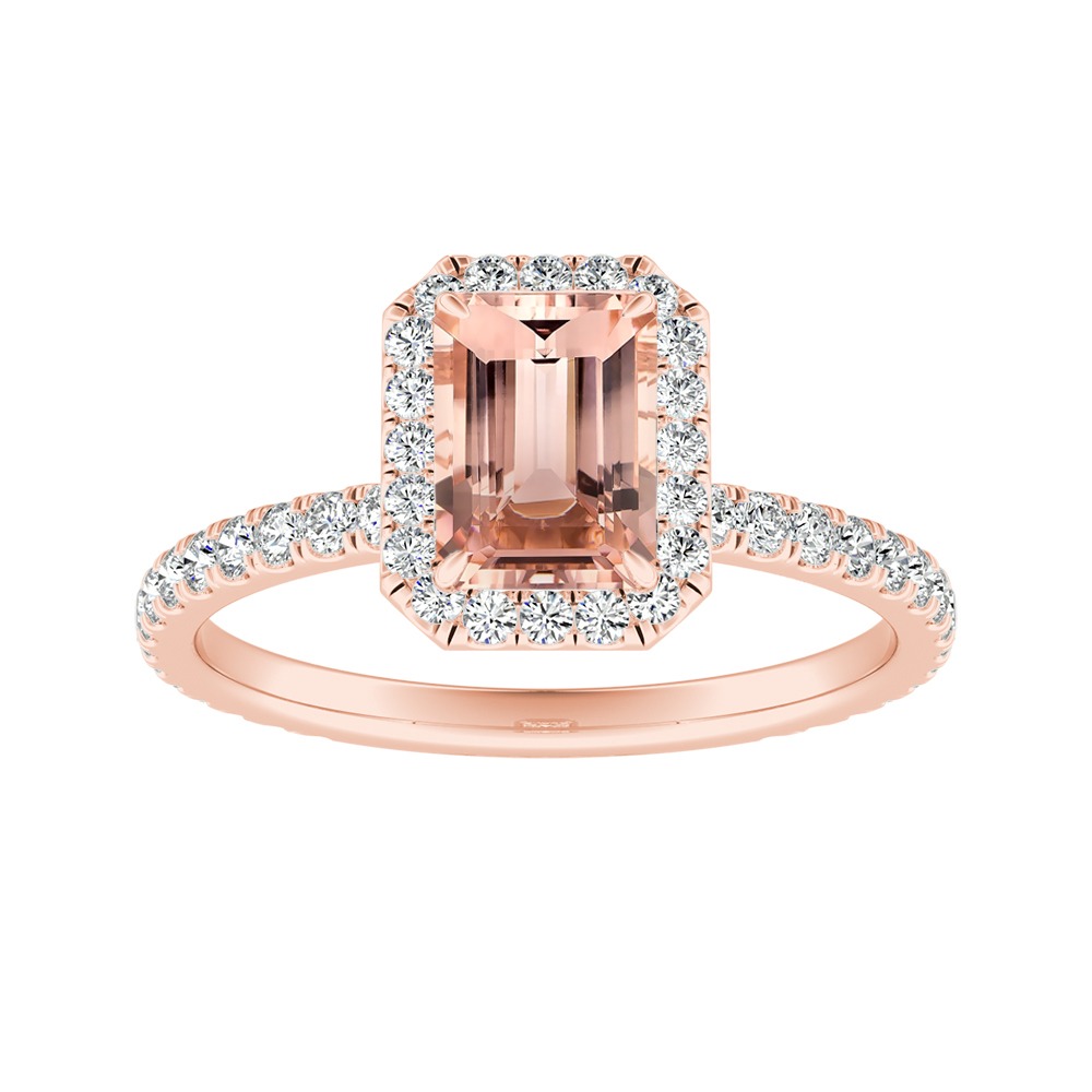 SKYLAR Halo Morganite Engagement Ring In 14K Rose Gold With 1.00 Carat Emerald Stone