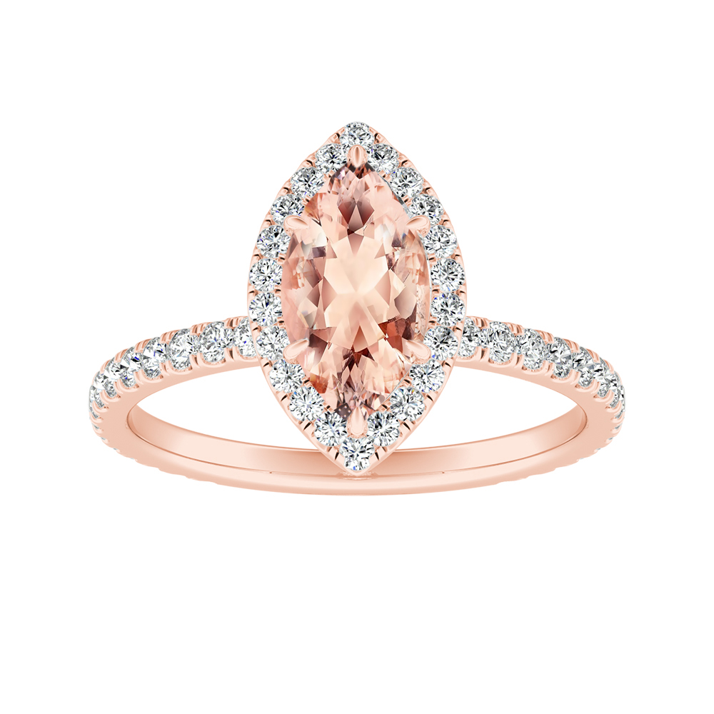 SKYLAR Halo Morganite Engagement Ring In 14K Rose Gold With 1.00 Carat Marquise Stone
