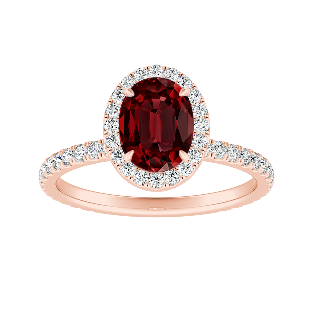 SKYLAR Halo Ruby Engagement Ring In 14K Rose Gold With 0.50 Carat Oval Stone