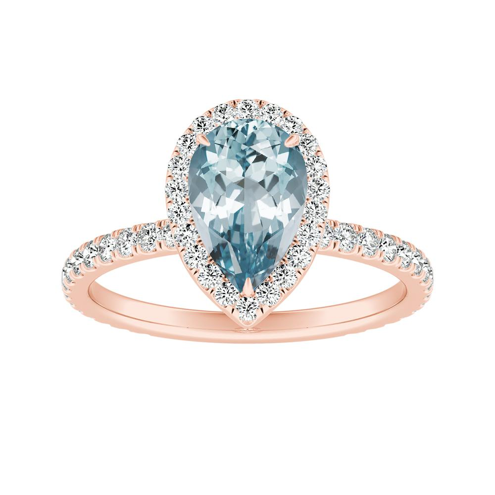 SKYLAR Halo Aquamarine Engagement Ring In 14K Rose Gold With 1.00 Carat Pear Stone