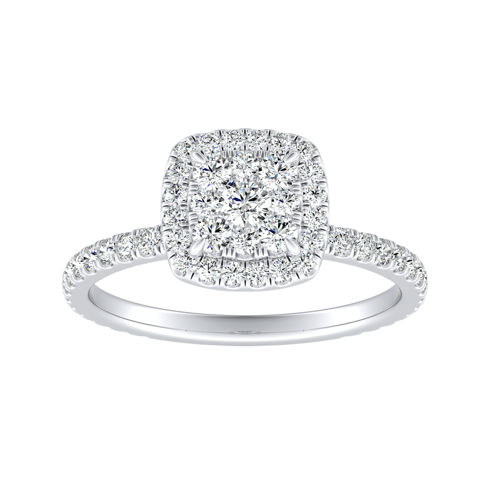 SKYLAR Halo Diamond Engagement Ring In 14K White Gold With Cushion Diamond In H-I SI1-SI2 Quality
