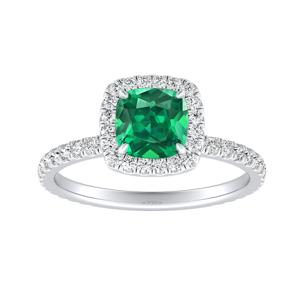 SKYLAR Halo Green Emerald Engagement Ring In 14K White Gold With 0.50 Carat Cushion Stone