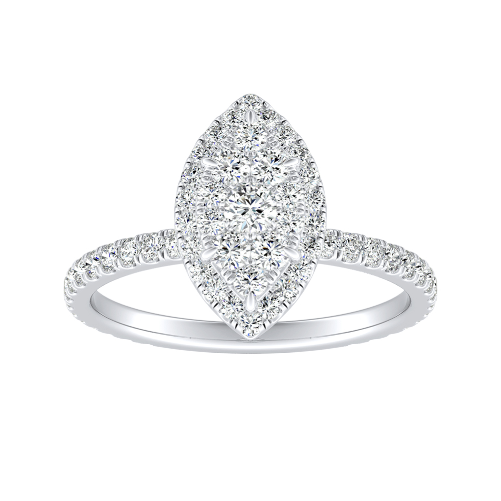 SKYLAR Halo Diamond Engagement Ring In 14K White Gold With Marquise Diamond In H-I SI1-SI2 Quality