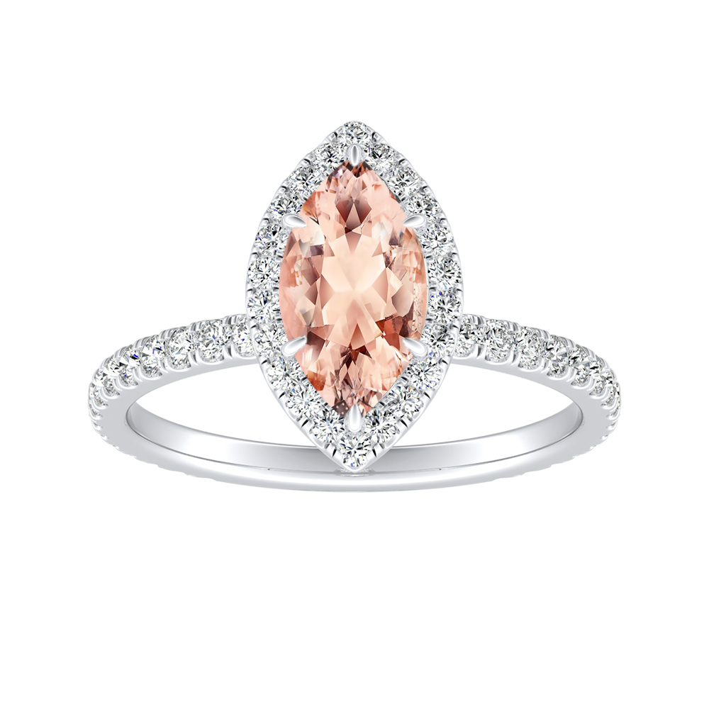 SKYLAR Halo Morganite Engagement Ring In 14K White Gold With 1.00 Carat Marquise Stone