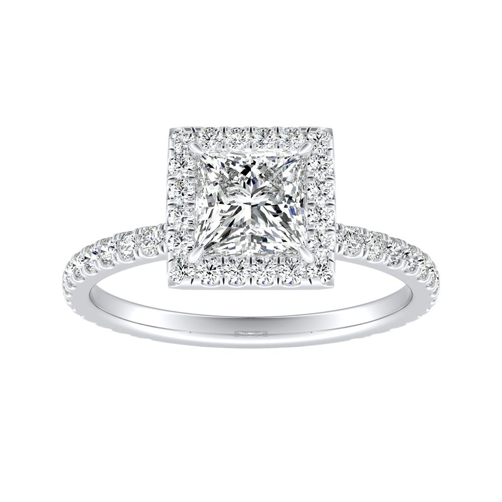 SKYLAR Halo Diamond Engagement Ring In 14K White Gold