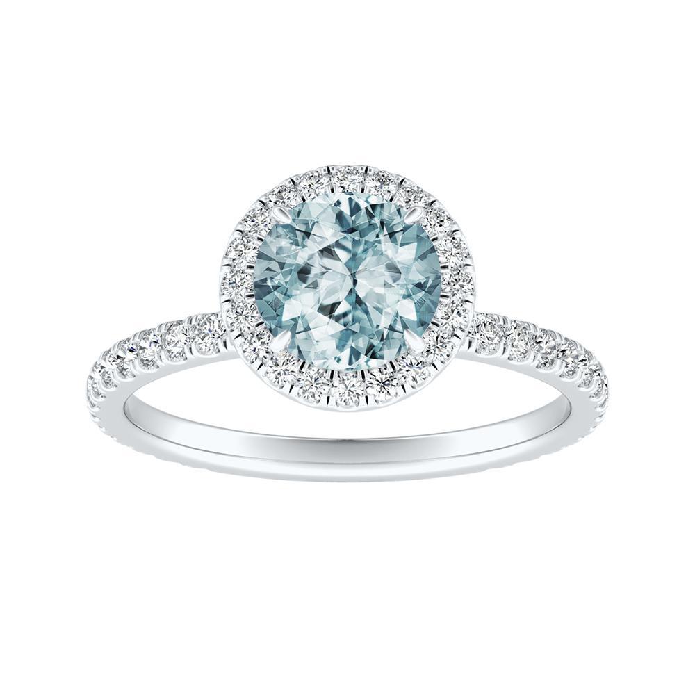 SKYLAR Halo Aquamarine Engagement Ring In 14K White Gold With 1.00 Carat Round Stone