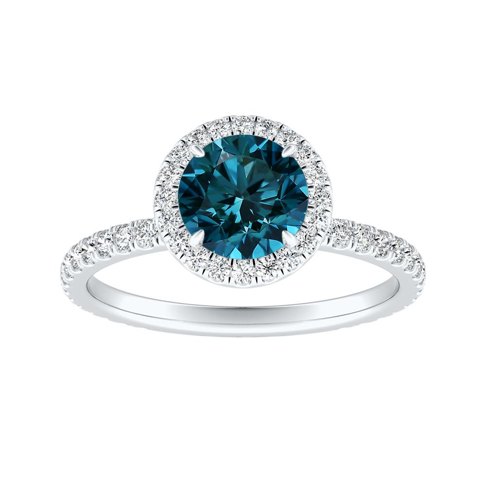 SKYLAR Halo Blue Diamond Engagement Ring In 14K White Gold With 0.50 Carat Round Diamond