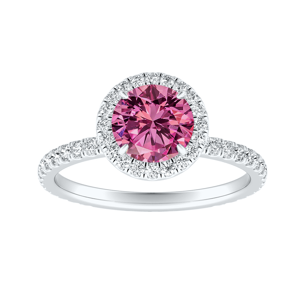 SKYLAR Halo Pink Sapphire Engagement Ring In 14K White Gold With 0.50 Carat Round Stone