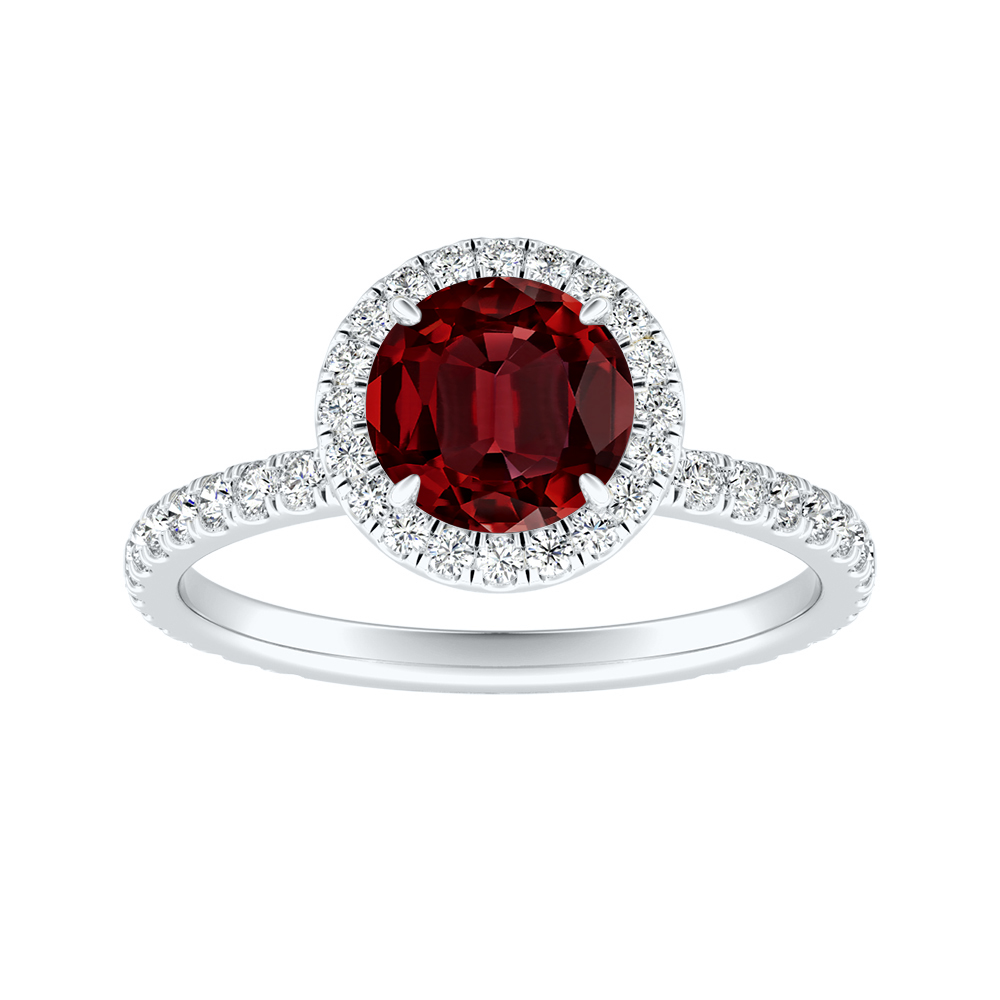 SKYLAR Halo Ruby Engagement Ring In 14K White Gold With 0.50 Carat Round Stone