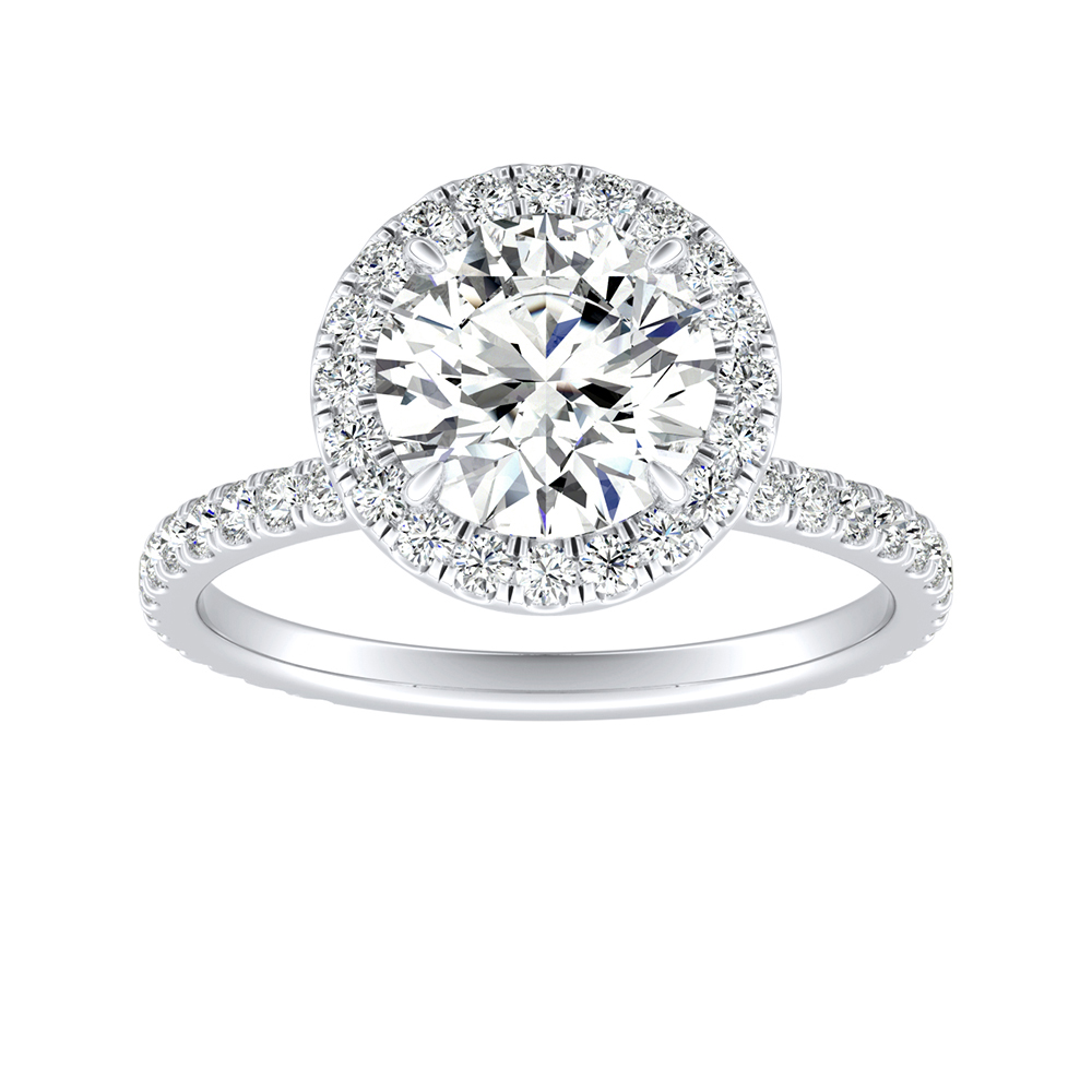 SKYLAR Halo Moissanite Engagement Ring In 14K White Gold With 0.75 Carat Round Stone