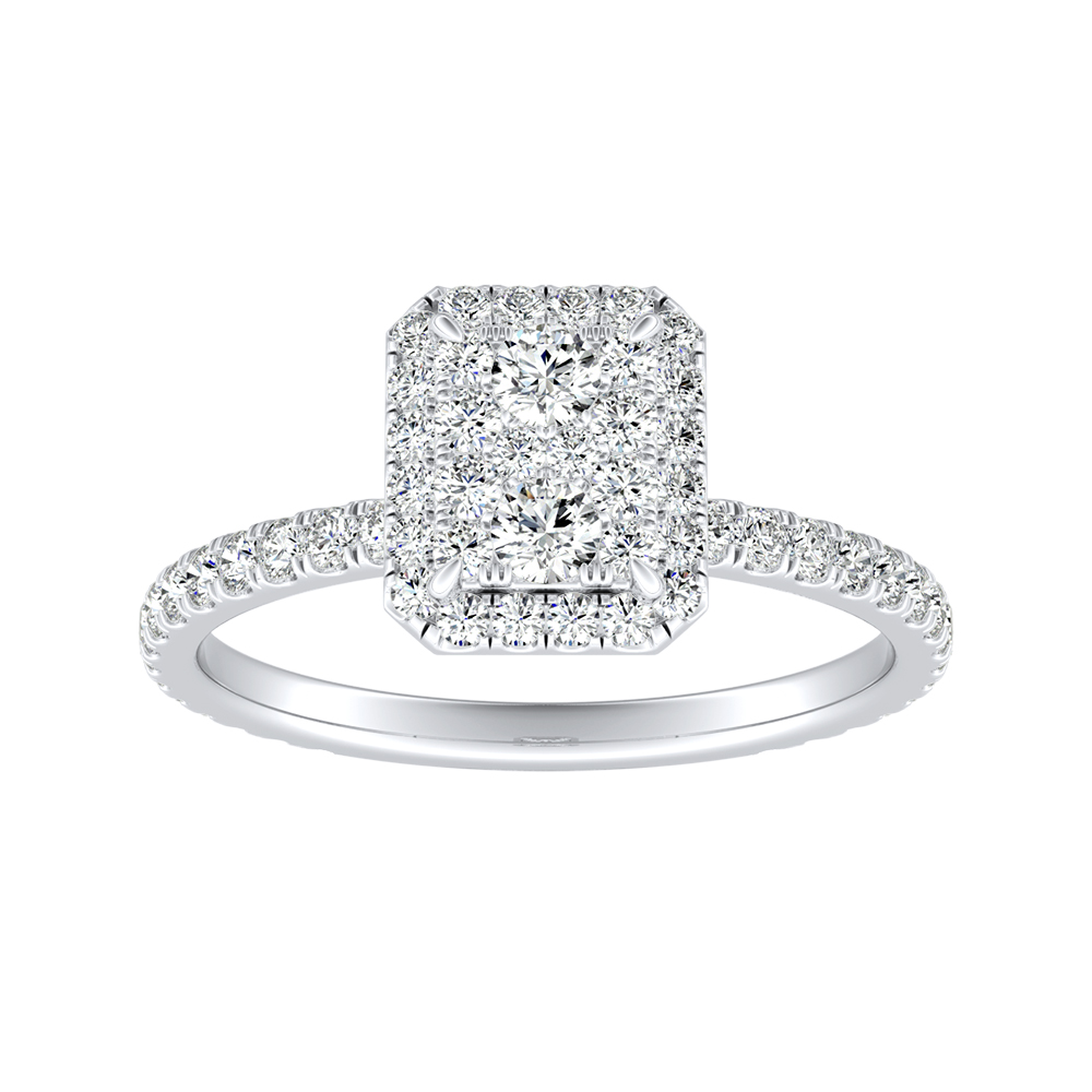 SKYLAR Halo Diamond Engagement Ring In 14K White Gold With Radiant Diamond In H-I SI1-SI2 Quality