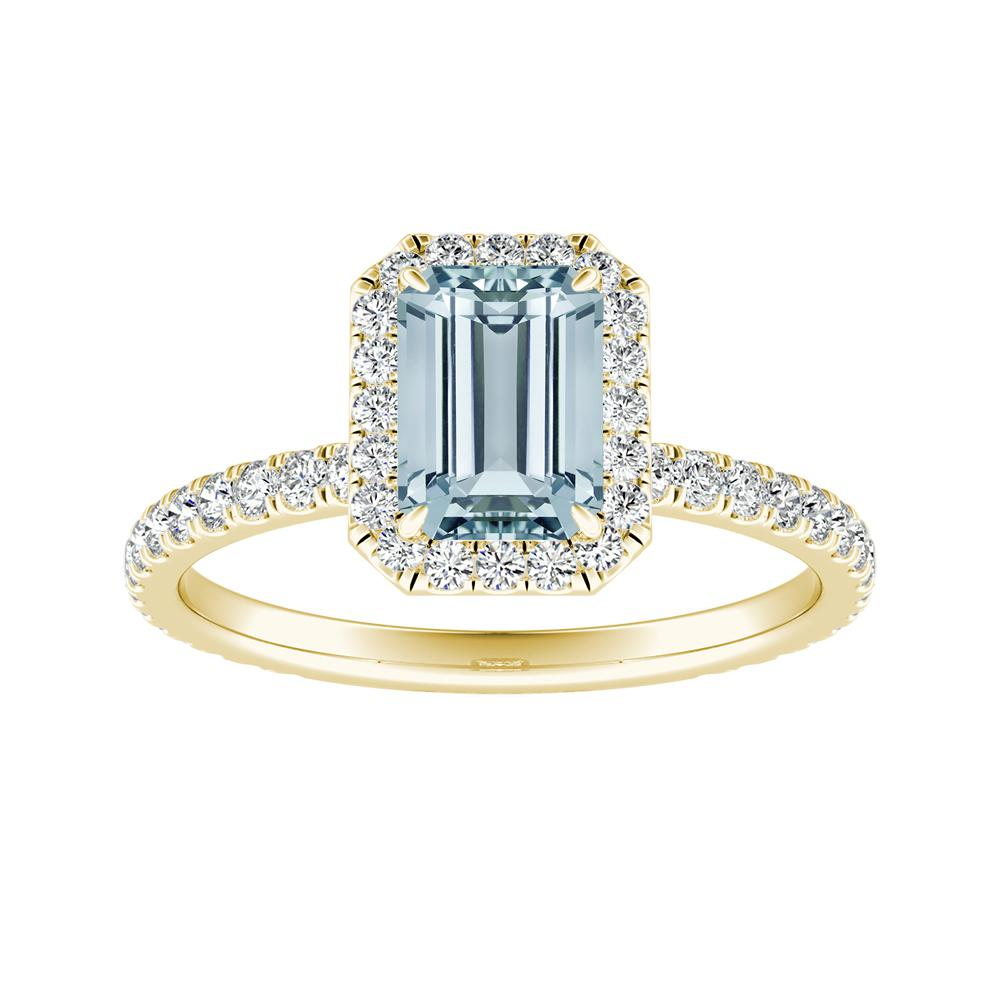 SKYLAR Halo Aquamarine Engagement Ring In 14K Yellow Gold With 1.00 Carat Emerald Stone