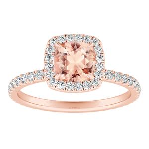 SKYLAR  Halo  Morganite  Engagement  Ring  In  14K  Rose  Gold  With  1.00  Carat  Cushion  Stone