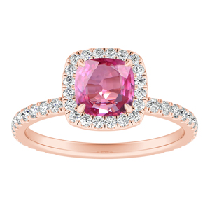 SKYLAR  Halo  Pink  Sapphire  Engagement  Ring  In  14K  Rose  Gold  With  0.50  Carat  Cushion  Stone