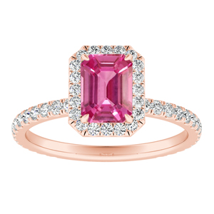 SKYLAR  Halo  Pink  Sapphire  Engagement  Ring  In  14K  Rose  Gold  With  0.50  Carat  Emerald  Stone